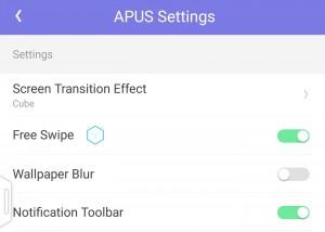 Settings of APUS Launcher